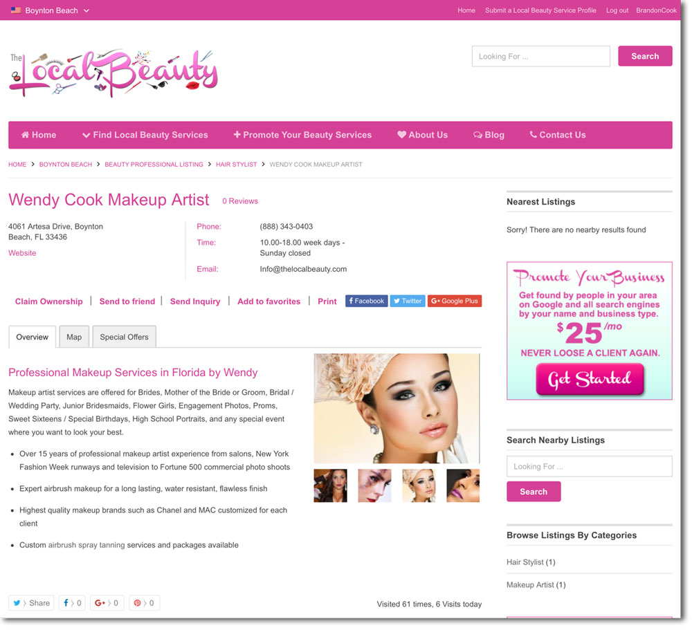Beauty Services Marketing Page